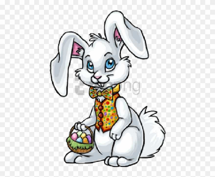 Easter bunny cartoon. Free png drawing image