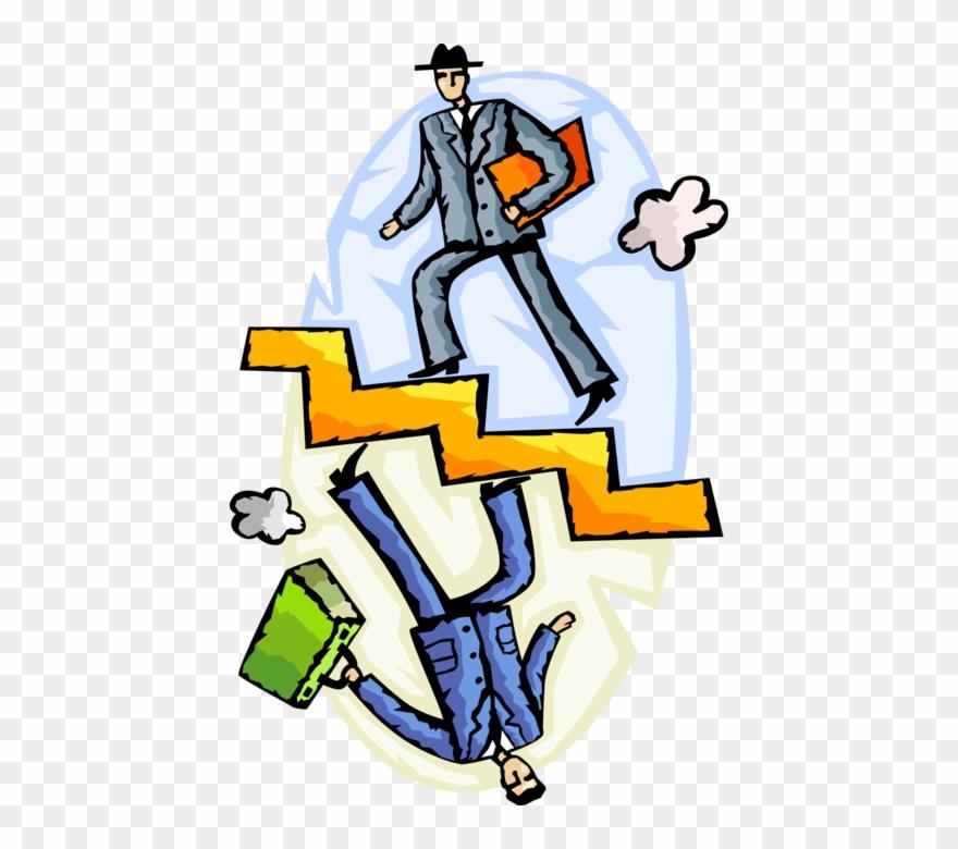 Vector Illustration Of Businessmen Ascend And Descend