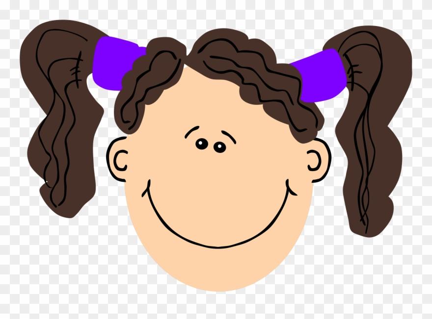 Girl brown hair. Clipart clip art face