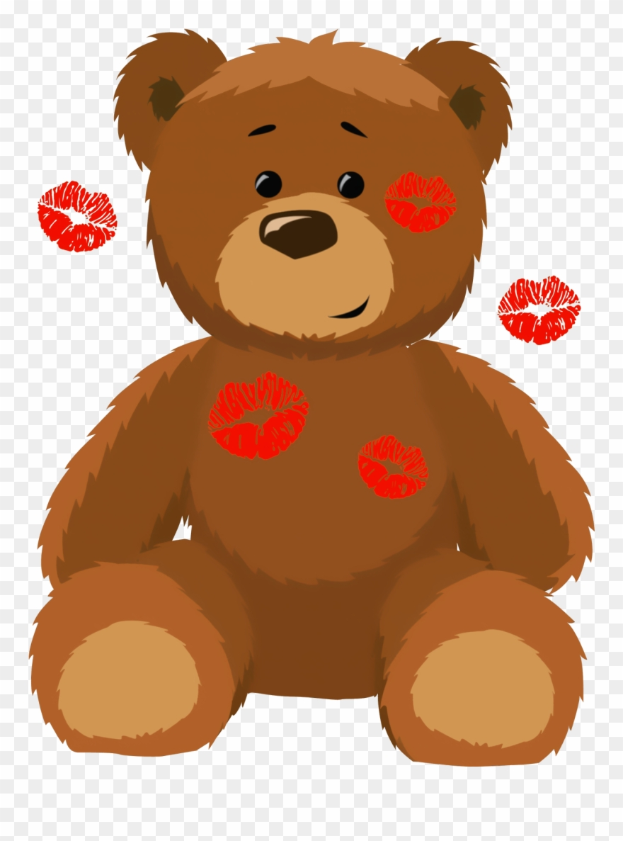 Cute animal teddy bear. With kisses png clipart