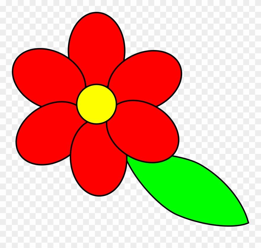 Flower Six Red Petals Black Outline Green Leaf - Cartoon