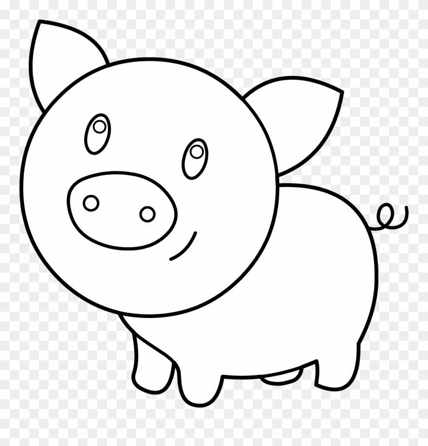 photograph relating to Printable Pig called Kid Pig Coloring Printable - Pig Clipart Black And White