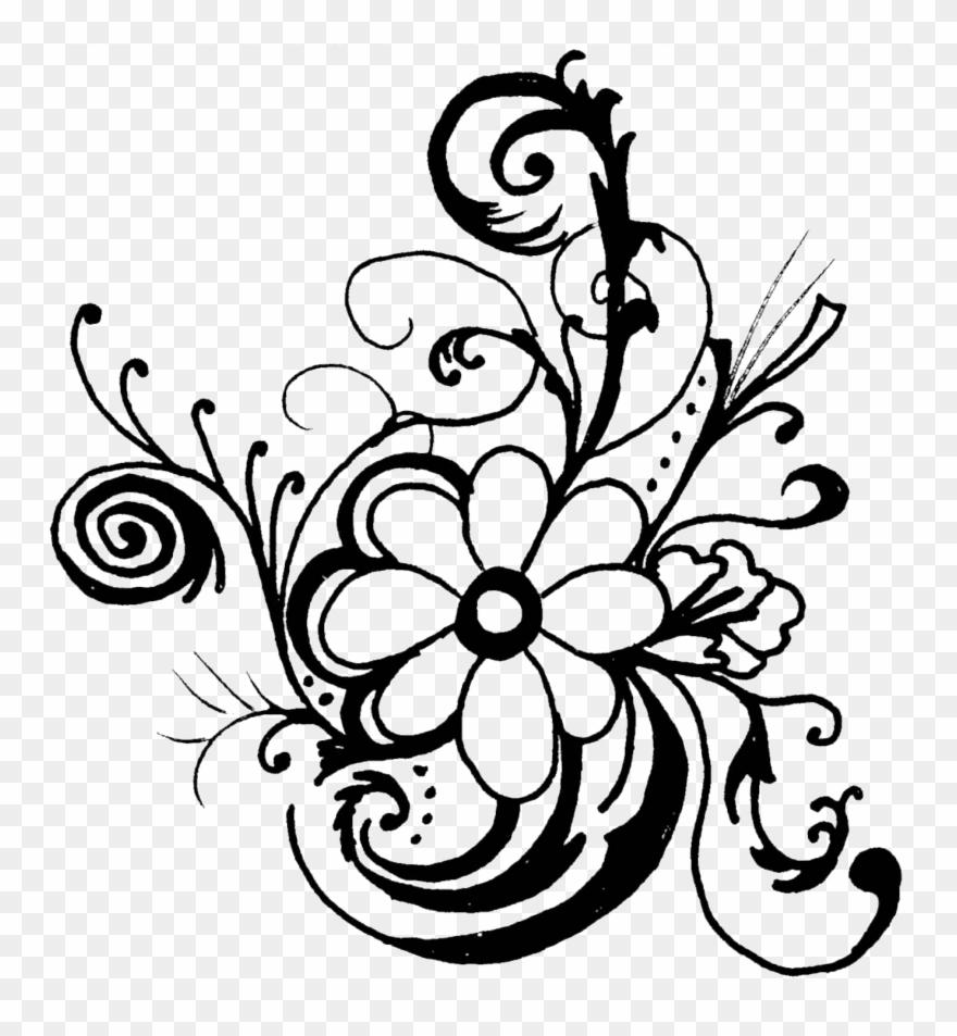 White Rose Clipart Floral Flowers Clip Art Black And White Border