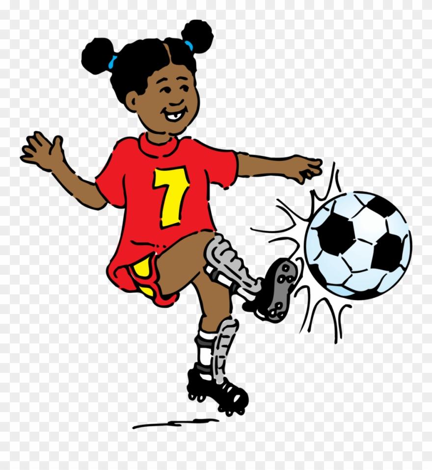Soccer playing. Girl clip art free