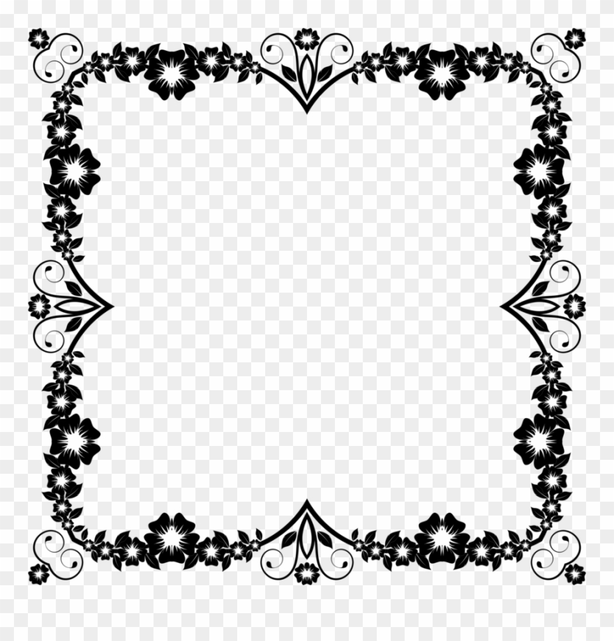 Download Flower Frame Black And White Png Clipart Borders Frames