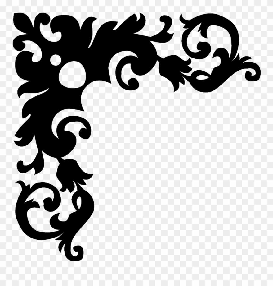 Border design. Black and white flower