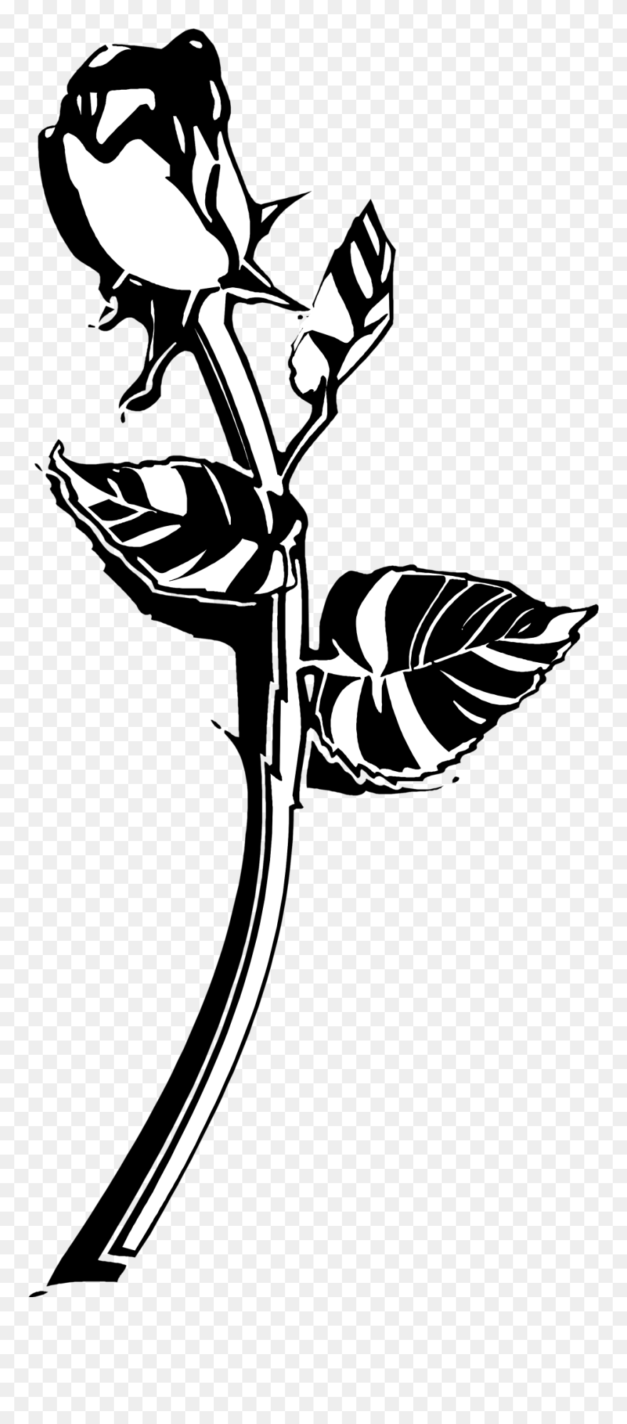 Flower black and white single. Rose png cliparts transparent