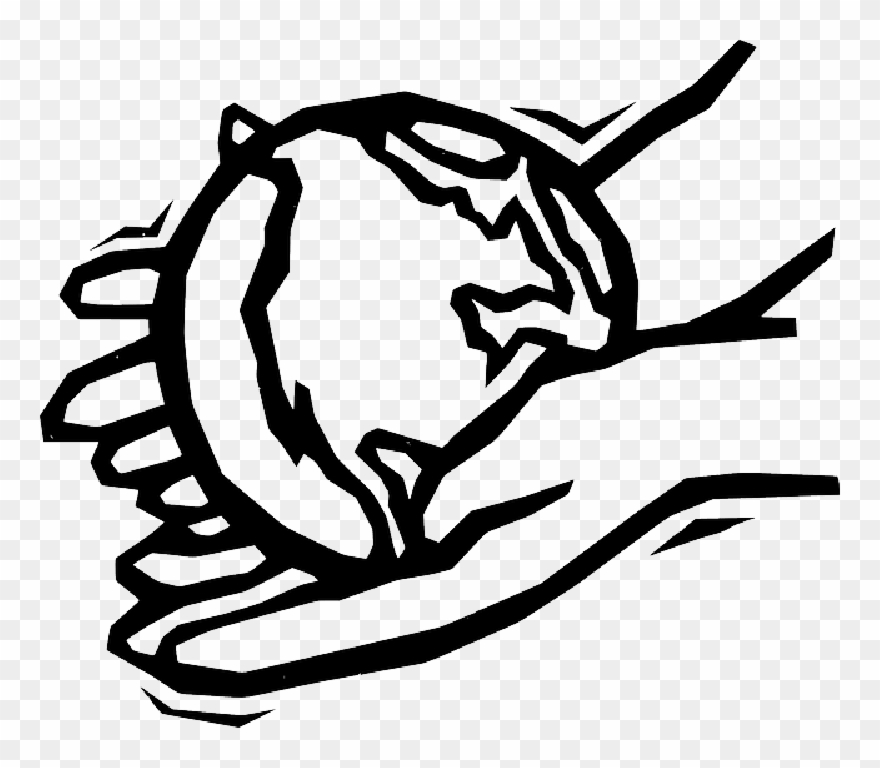 Hand Drawing Outline - Earth In Hands Outline Clipart