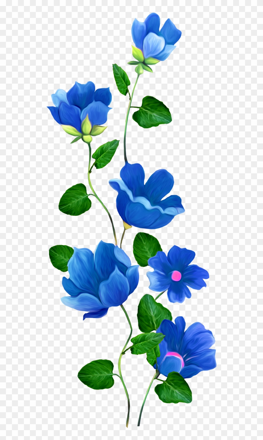 Flower Rose Blue Pin Clip Art - Blue Flower Border Transparent - Png  Download (#4053250) - PinClipart
