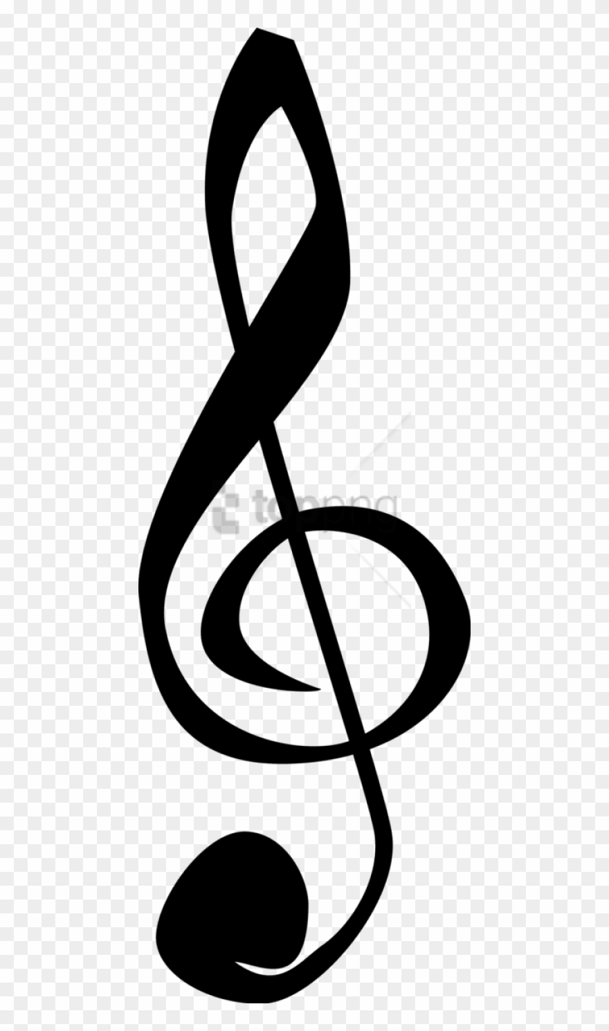 Music notes treble clef. Free png clipart image