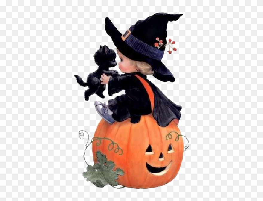 Cartoon Baby Witch With Black Cat,black Hat Witches - Halloween Witch Black Cat And
