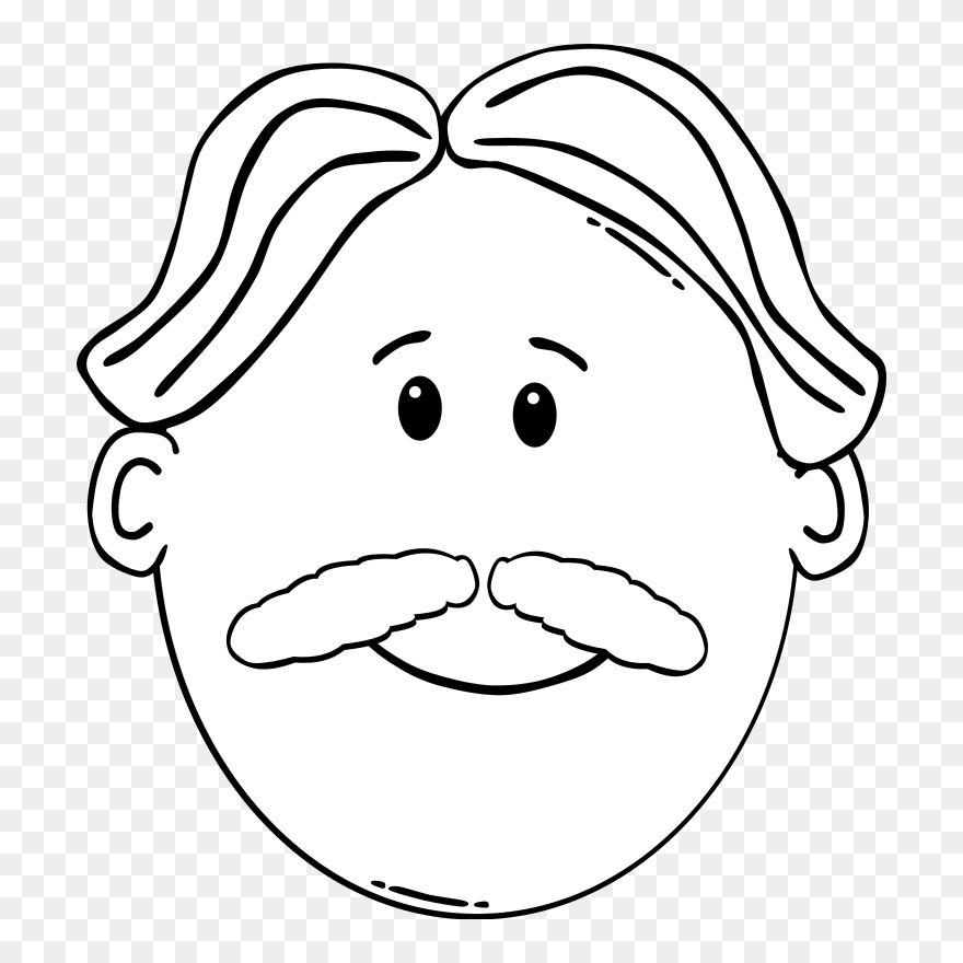 Moustache Coloring Book Man Face - Cartoon Man Face Clipart ...