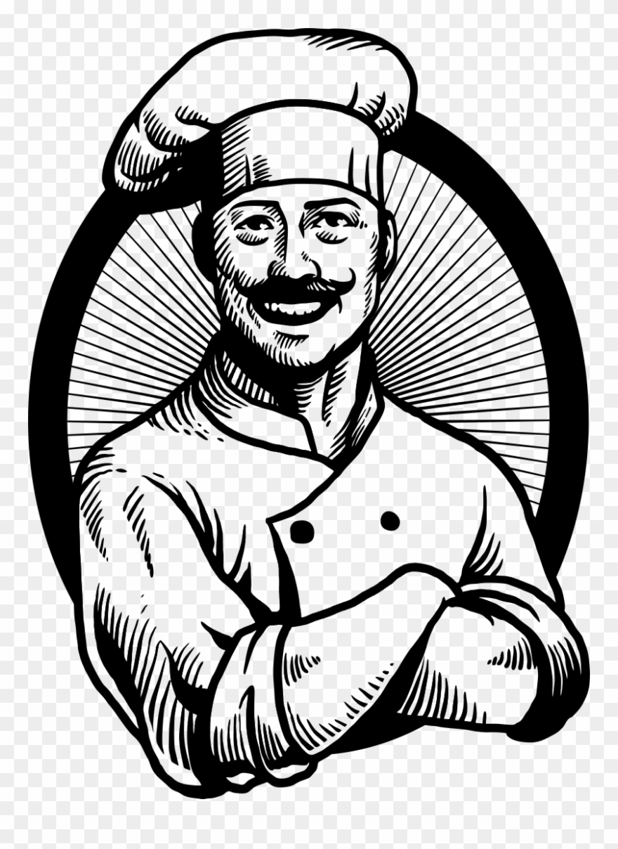 Chef Drawing Vintage Chef Black White Clipart