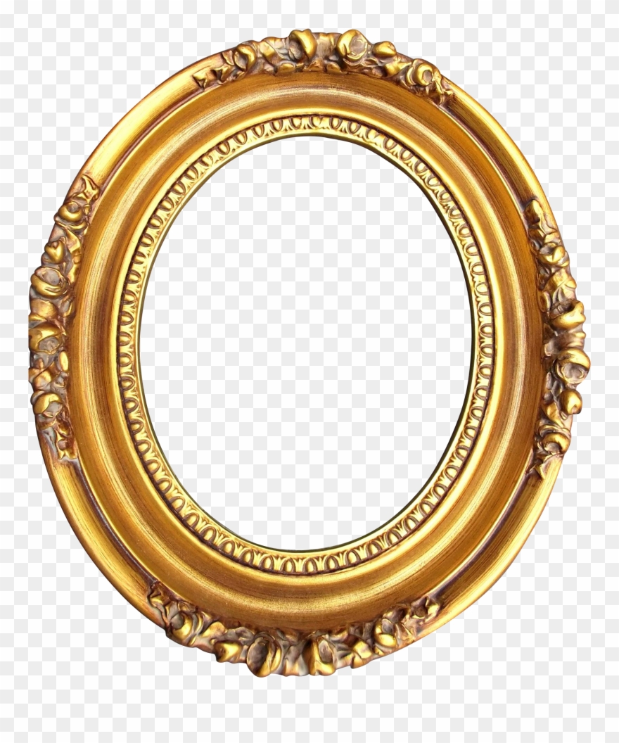 A Vintage Gold Washed Wood Gesso Oval Frame With Roses Portrait Frame Png Oval Clipart 4163932 Pinclipart