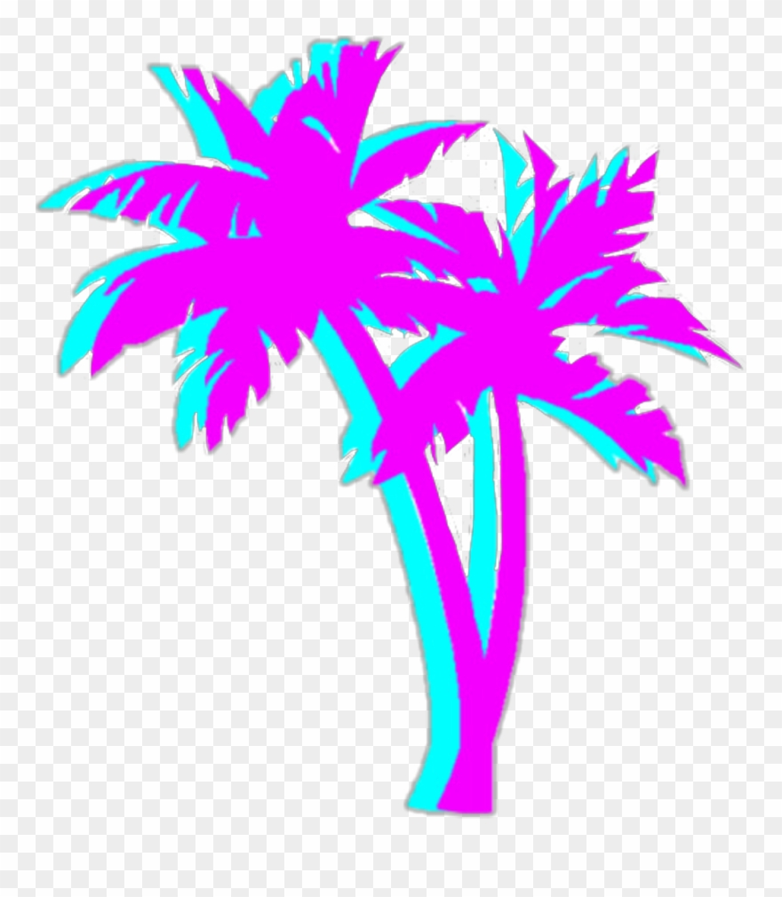 Bright Colorful Neon Aesthetic Tumblr Vaporwave - Vaporwave Palm