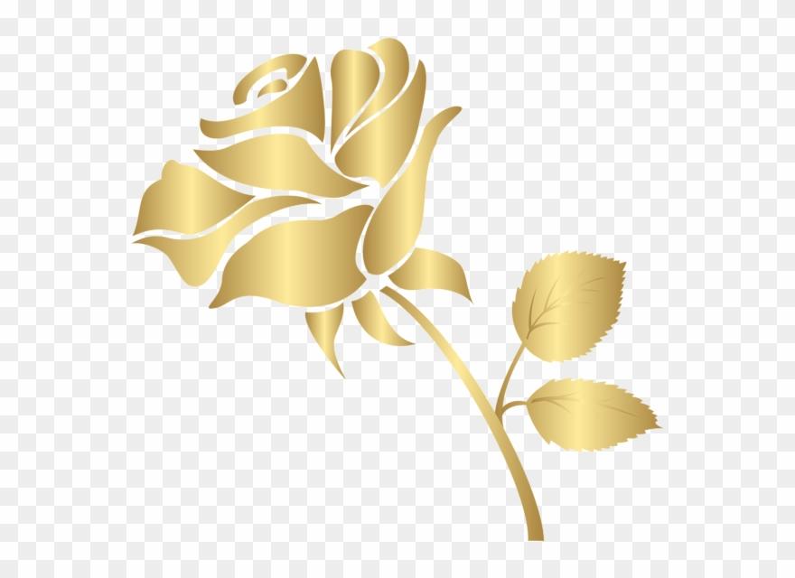 Decorative Gold Rose Png Clip Art Image - Gold Rose Clip Art Transparent Png