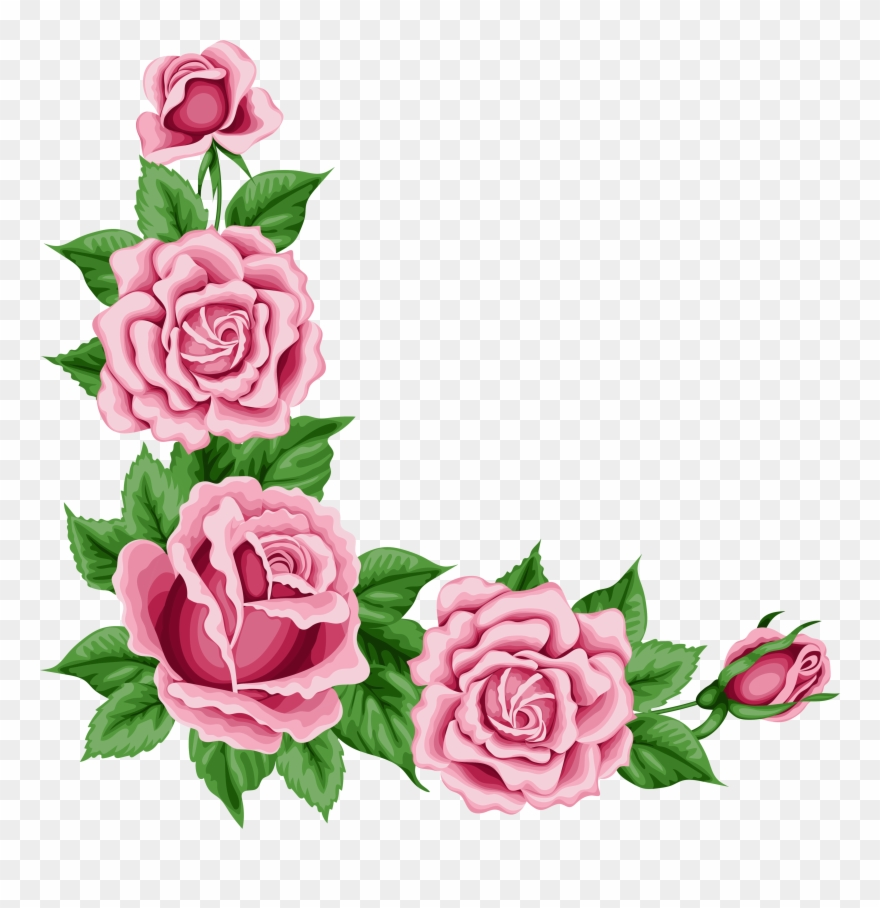 Border rose. Pink clipart flower corner