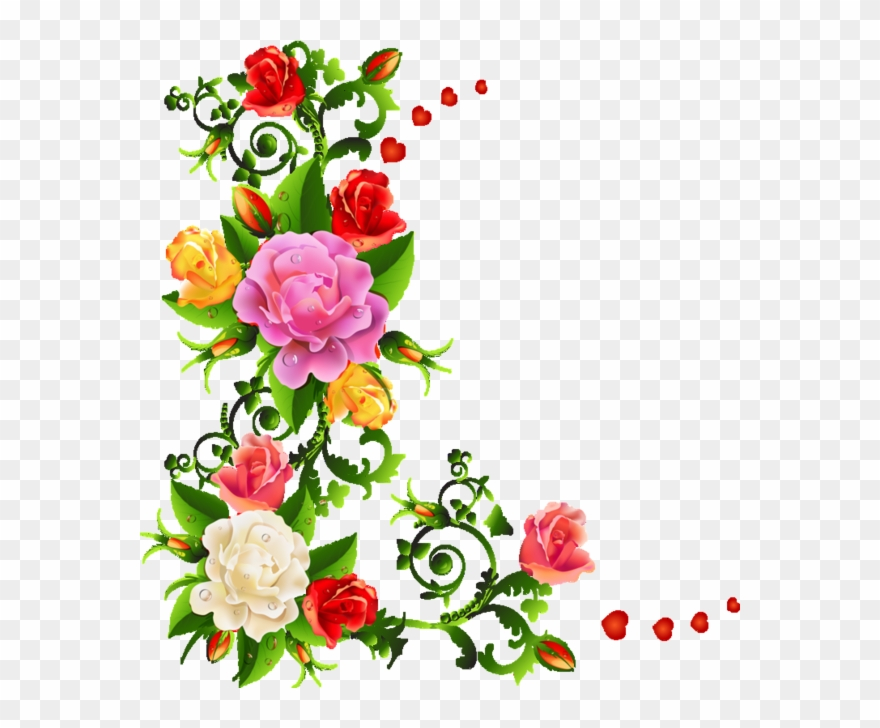 Corners Corners Edges Colorful Flower Border Design Clipart