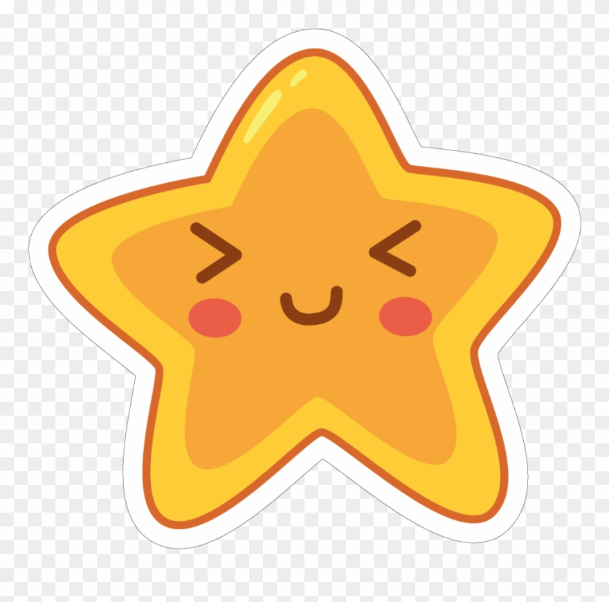 Clip Download Star Clip Cute - Sticker Star Smile - Png