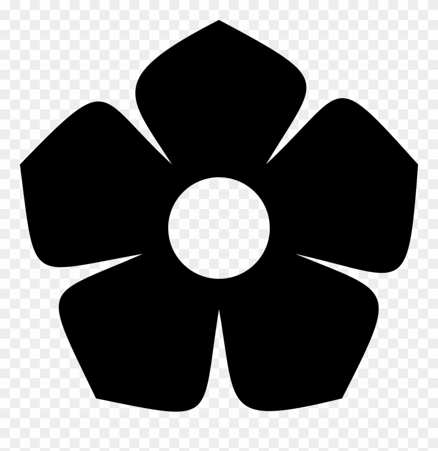 Flower black and white silhouette. Big image clip art