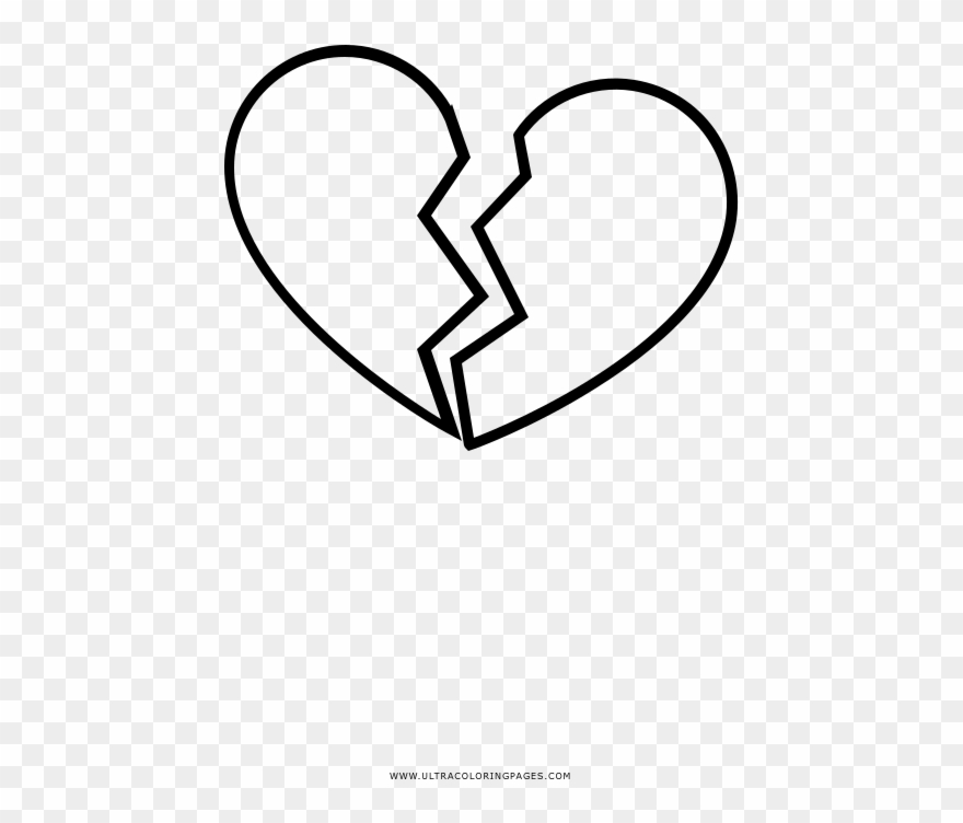 Broken Heart Coloring Page - Heart Clipart (#4451931 ...