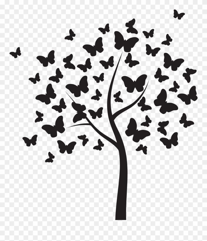 Butterflytree Butterfly Tree On Wall Clipart 4486330 Pinclipart