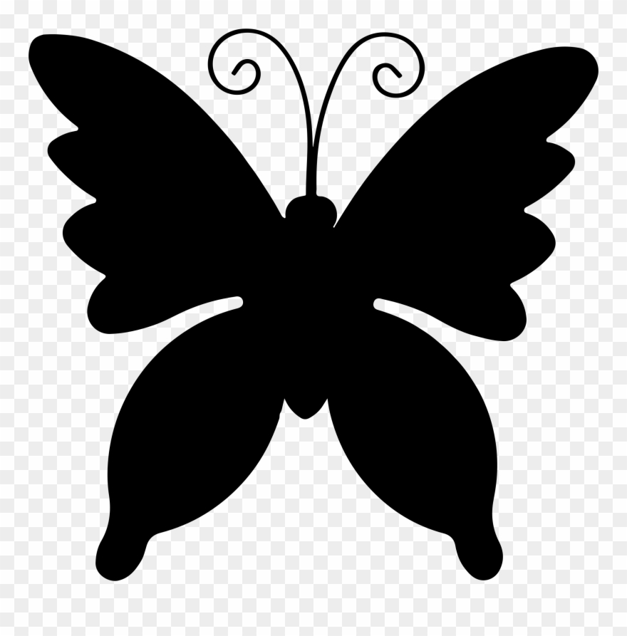 Butterfly outline stencil. Swallowtail monarch template plantilla