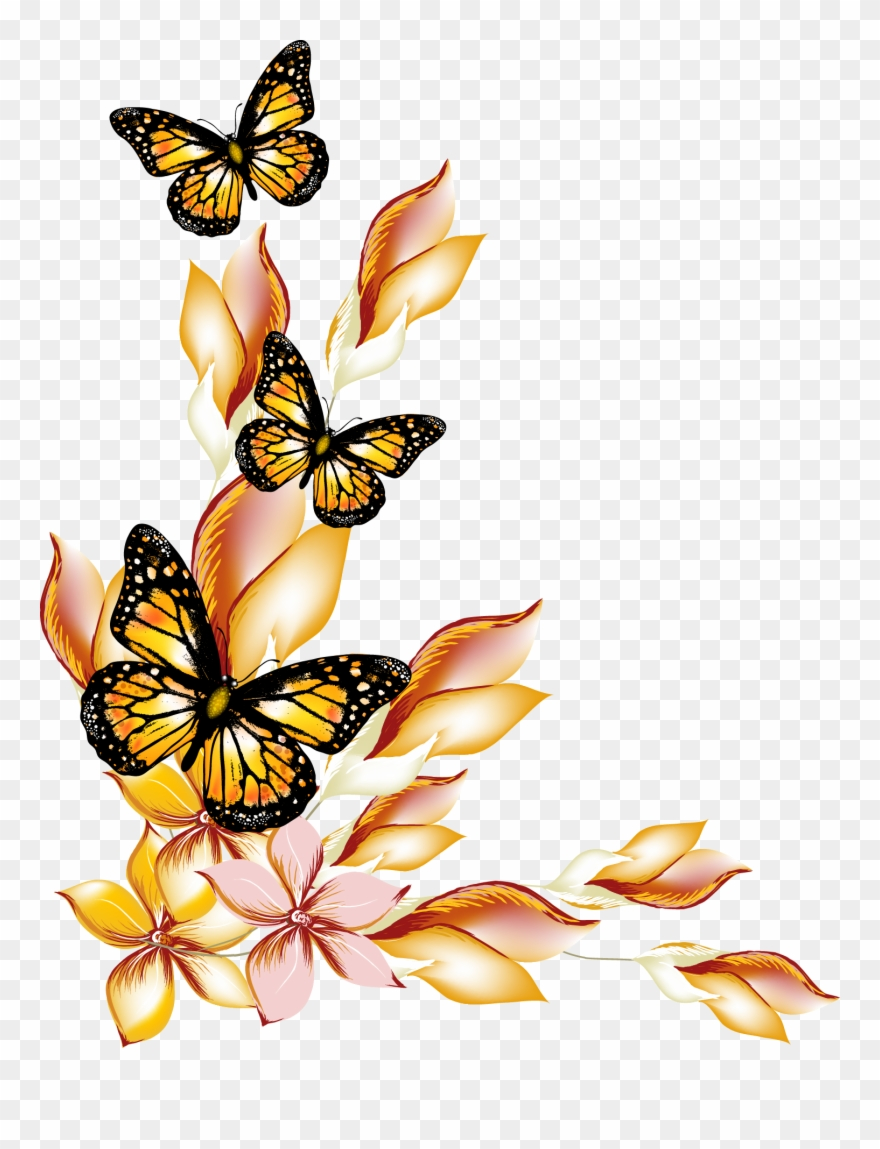 Flower flowers and butterflies border design flower and butterfly clipart