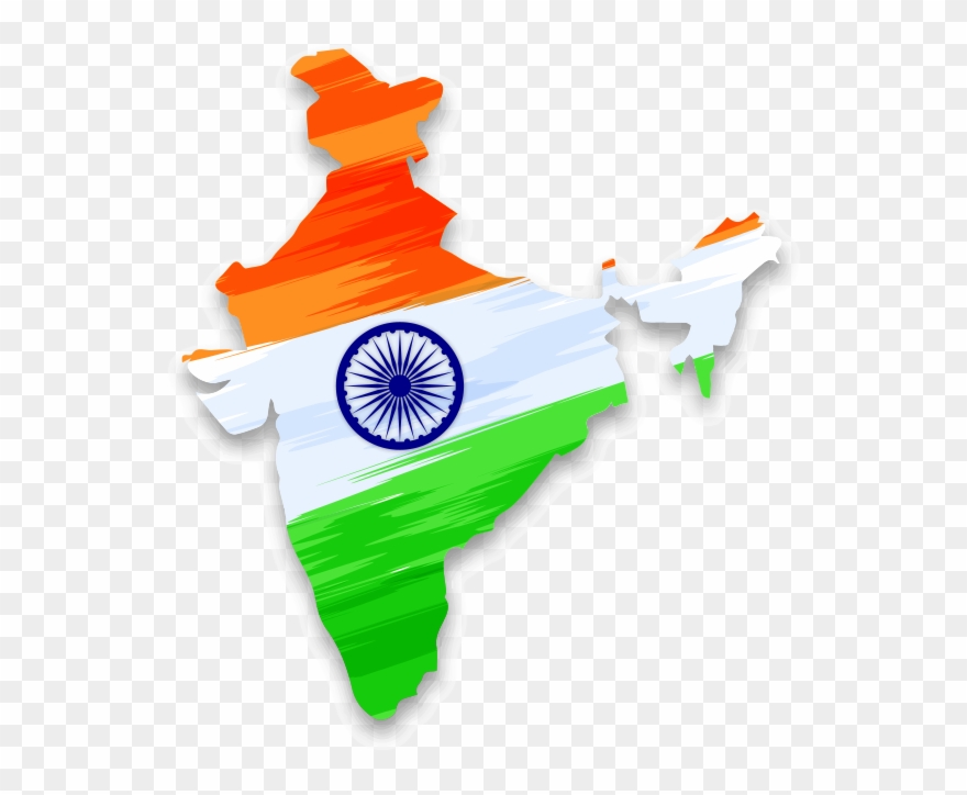 India Map Transparent Png - India Map With National Flag Clipart