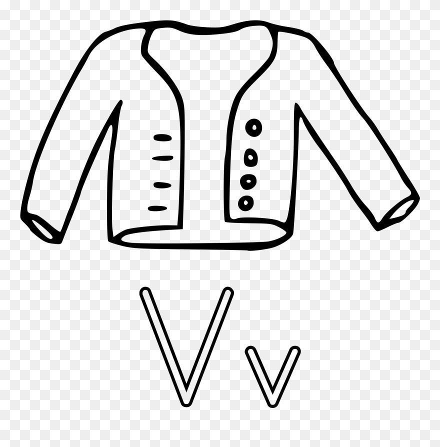 V Is For Vest Gilets Drawing Coloring Book Front Button Jacket Giver Clipart 469434 Pinclipart