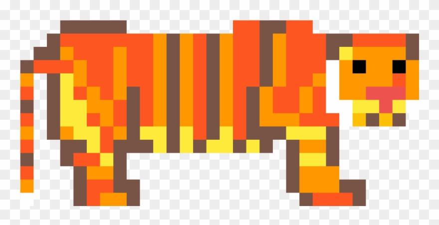 A Chunky Pixel Art Tiger Indian Elephant Clipart 4604909