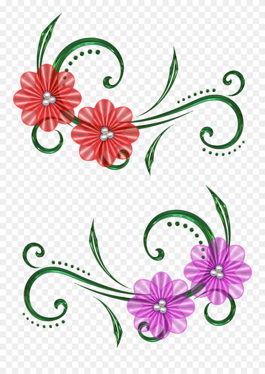 Floral Clipart Scrollwork Flower Scrapbook Design Drawing Png