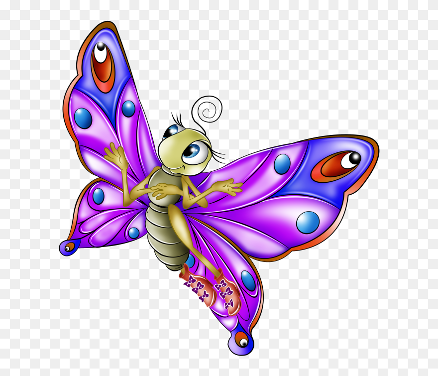 Very Colourful Butterfly Cartoon Images - Cartoon Butterfly Png