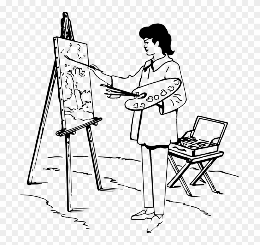 Painting Easel Black And White Drawing Art - Drawing Of A Person Painting Clipart