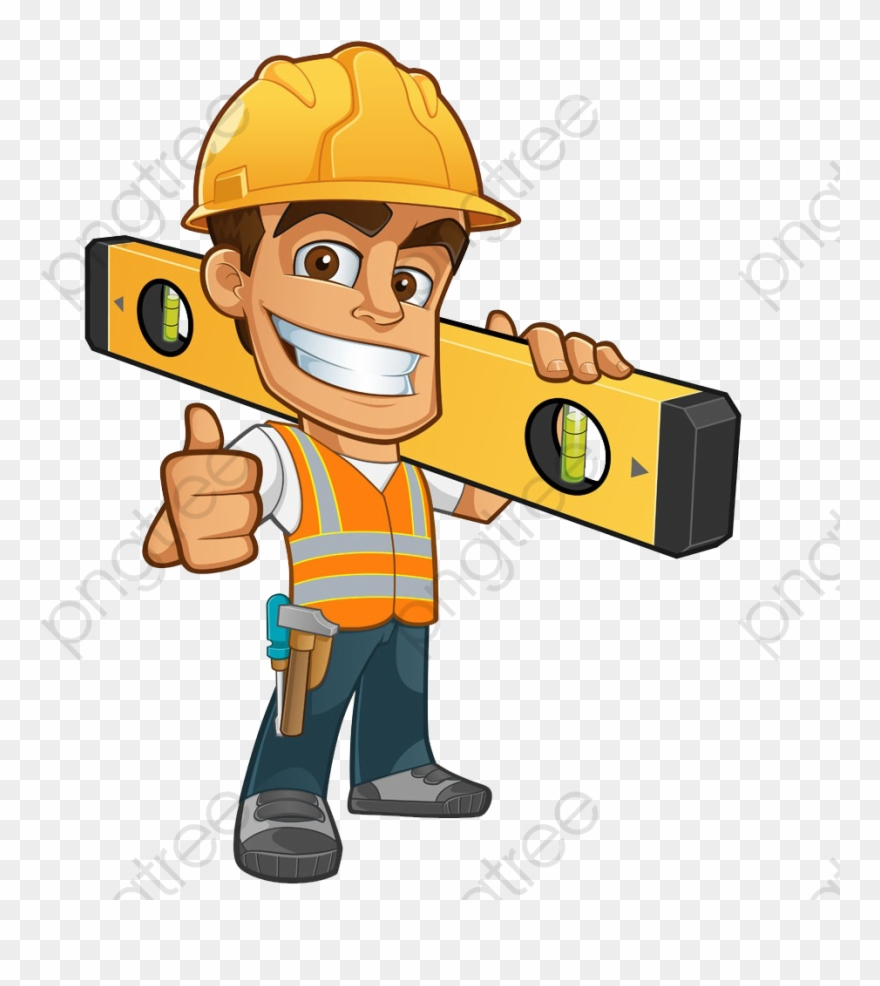 Ruler Clipart Horizontal - Cartoon Construction Worker - Png Download