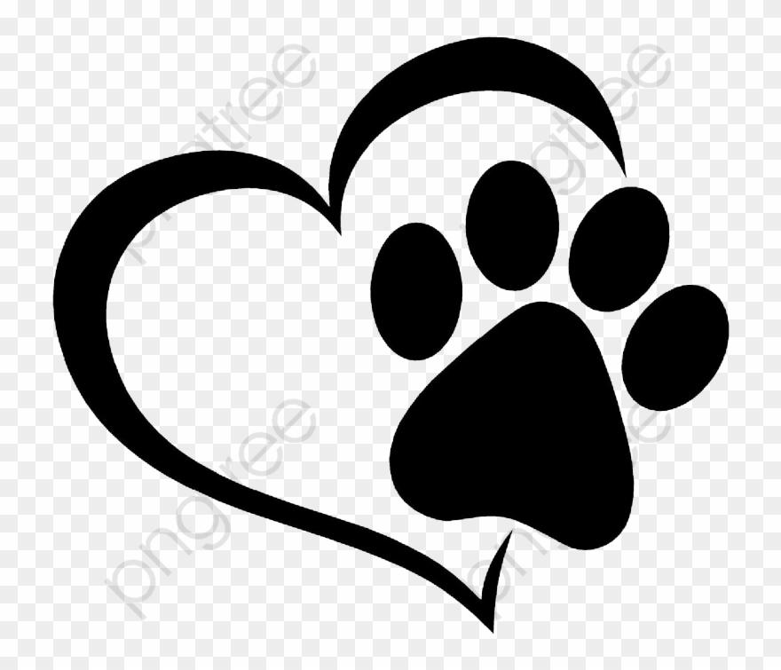 Paw print heart. Love and cat prints