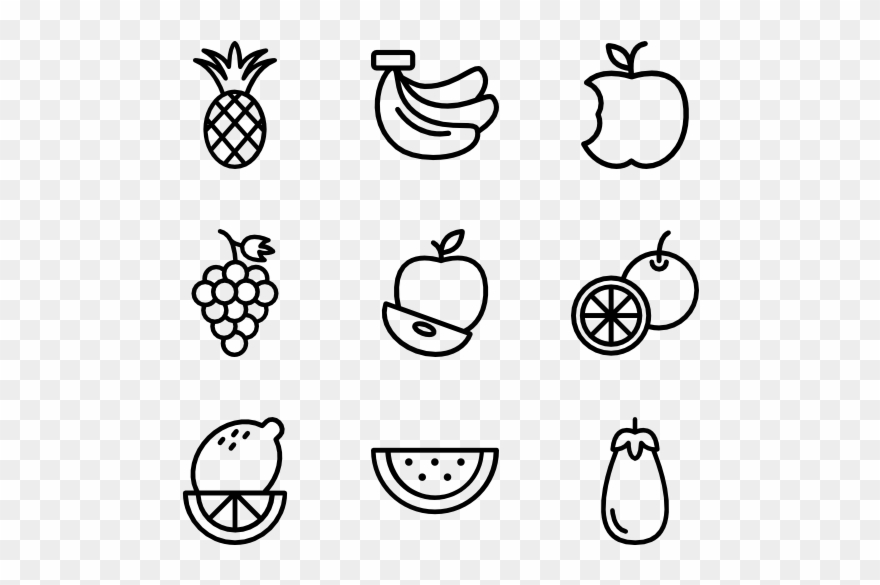 Apple Icons Free - Black And White Fruit Icon Png Clipart (#491929