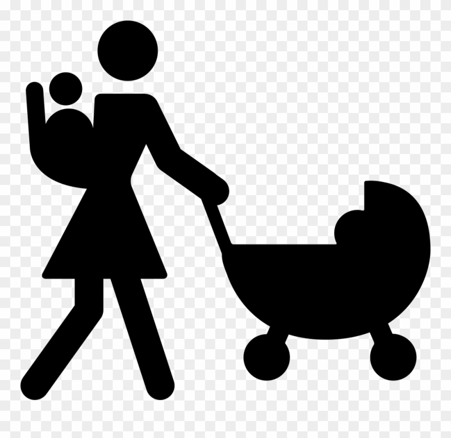 Vector Royalty Free Download Mother Walking With Baby Mom Stroller Icon Clipart 493274 Pinclipart