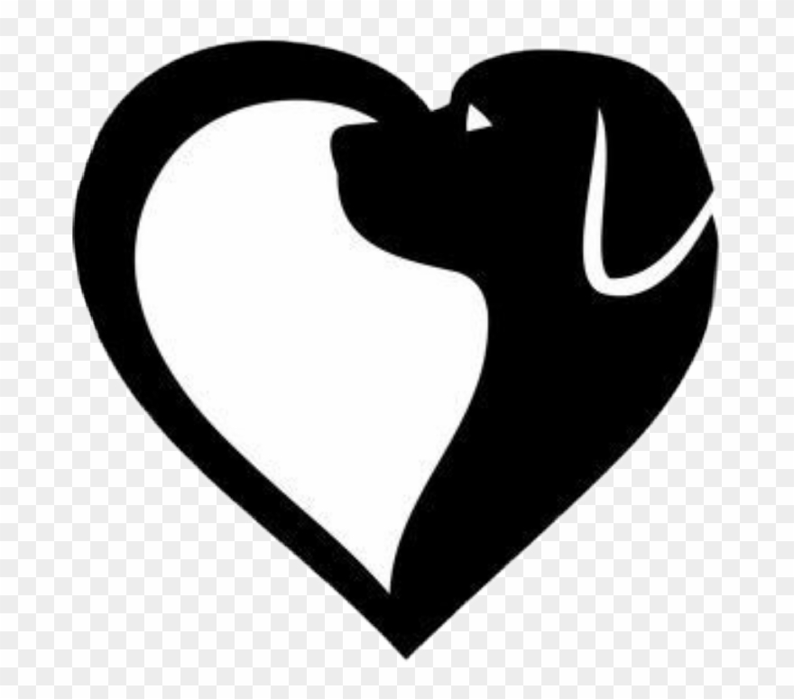 #heart #dog #silhouette - Dog Heart Clip Art - Png ...