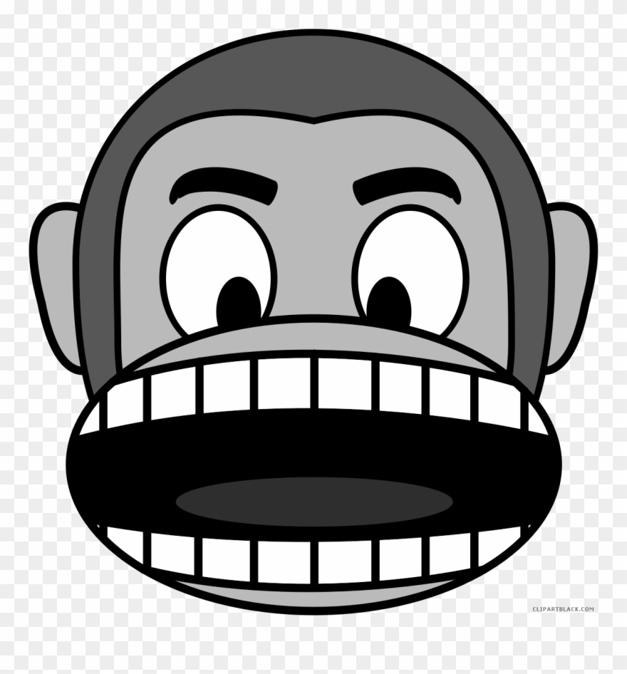 Monkey Emojis Animal Free Black White Clipart Images ...