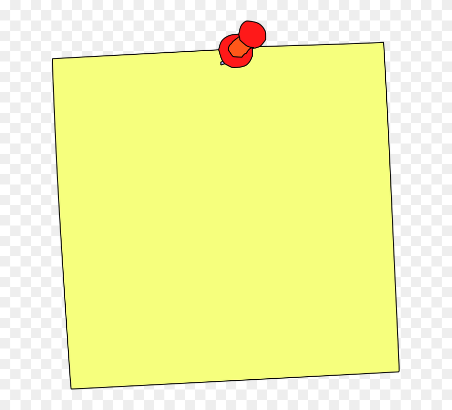 Pink sticky note with orange board pin illustration, Post