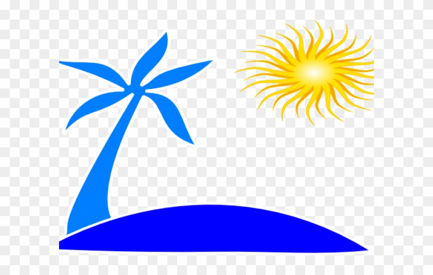 Beach sun. Clipart palm tree and