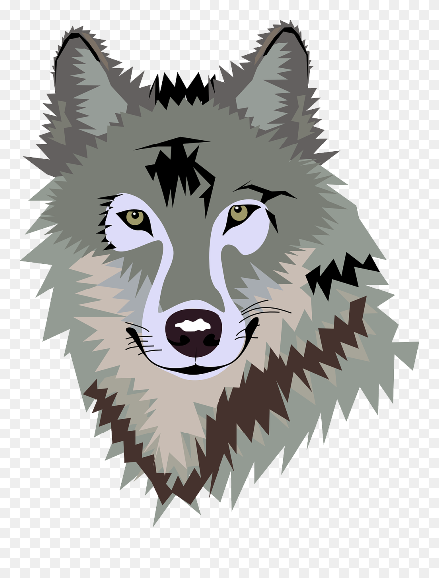 Gray wolf. Happy cliparts clipart png