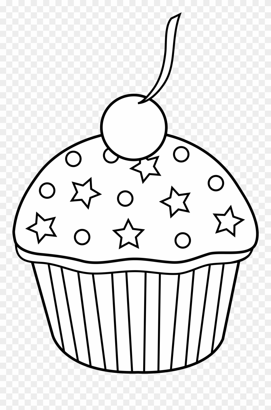 Cupcake outline. Cute to color in