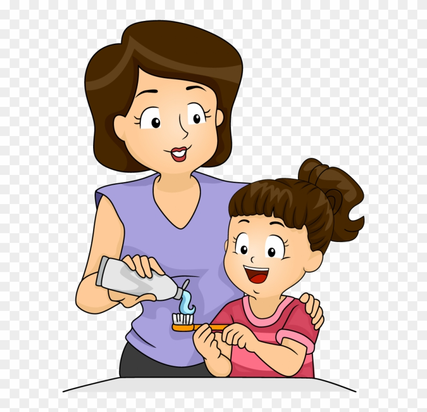 Download Mother And Kid Brushing Teeth Clipart Tooth Baby Brush Teeth Cartoon Png Download Full Size Clipart 57111 Pinclipart