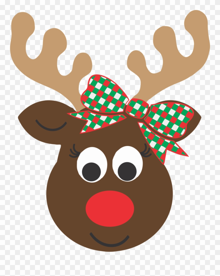 Reindeer head. Girl cartoon clipart