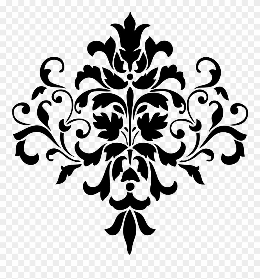 Lace stencil. Clipart damask design doily