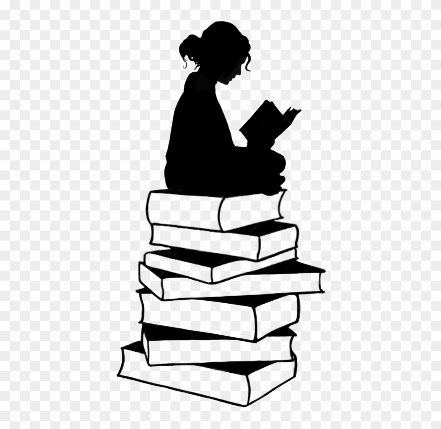 Girl With Book Silhouette Clipart 519250 Pinclipart