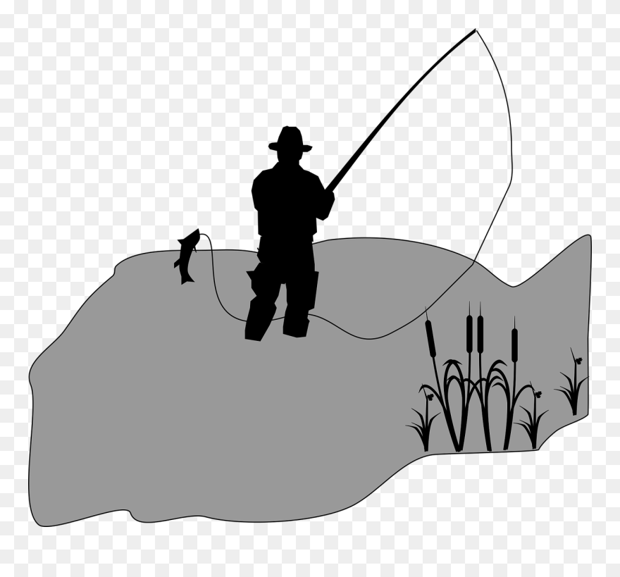 Fishing Fisherman Clip Art Easy Fishing Pole Drawing Png Download 5251328 Pinclipart