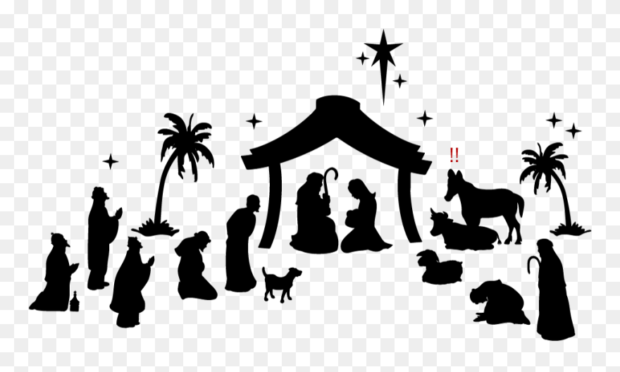 Nativity Scene Clipart Black And White - Png Download ...